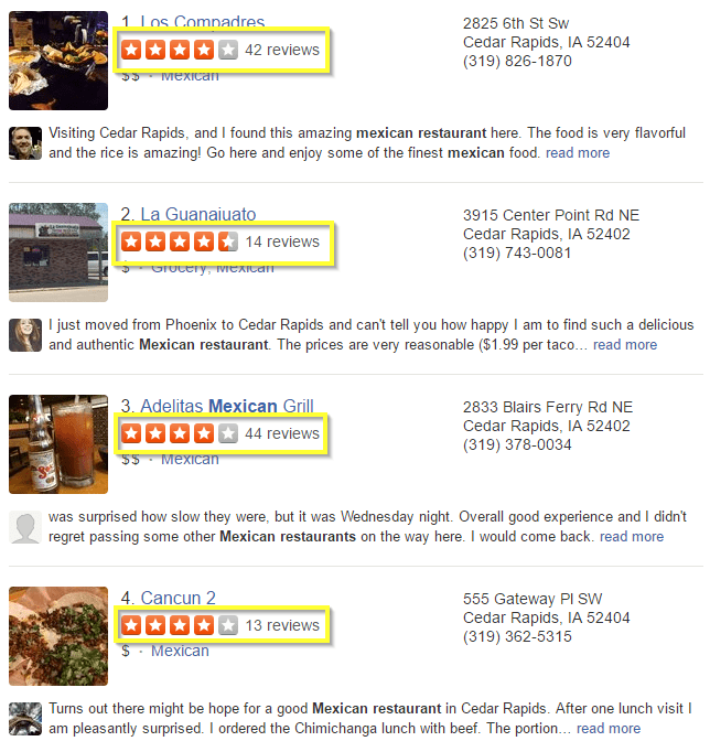 online reviews local seo yelp