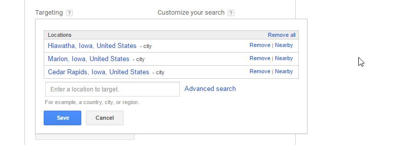 google keyword planner target locations