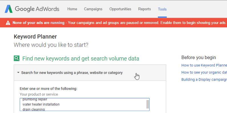 google keyword planner enter keywords