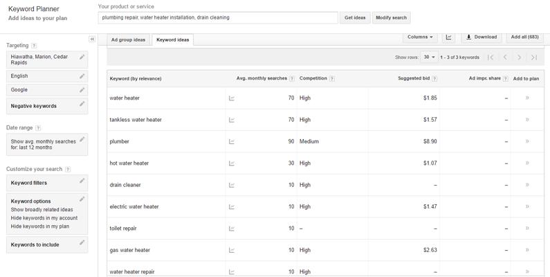 google keyword planner keyword ideas