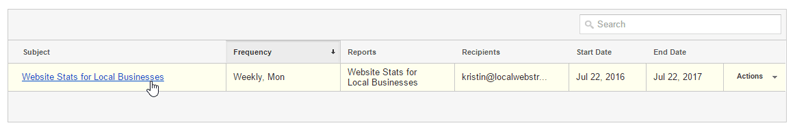 google analytics guide email subject