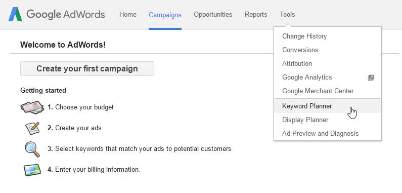 google keyword planner tools dropdown