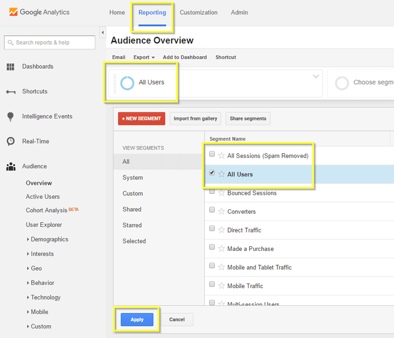 google analytics guide spam removed