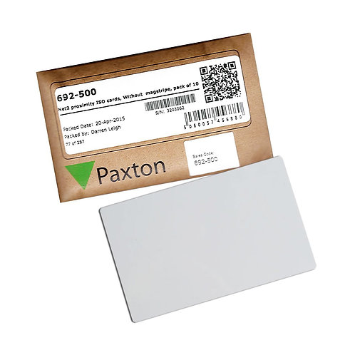 PAX-692-500 Net2 Proximity ISO Cards - Without Magstripe, Pack Of 10