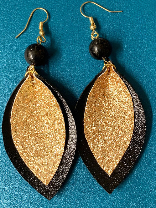 black faux leather earrings with gold glitter middle