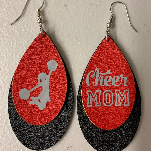 Faux Leather Earrings - Cheer Mom