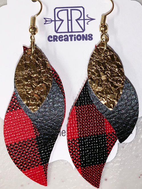 Faux Leather Earrings - Red & Black Pattern / Black / Gold