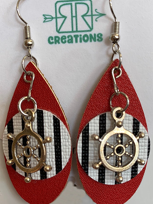 Nautical Faux Leather Earrings, Dangling ship wheel
