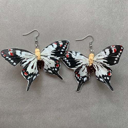 butterfly earrings white and black