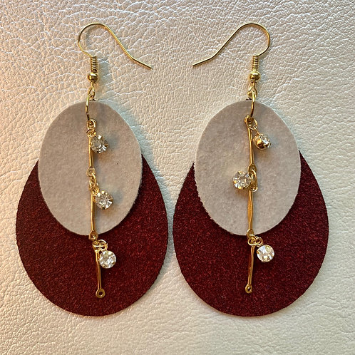 Mauve and Gray Suede Faux Leather Earrings, Dangling Accents