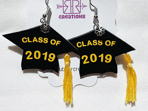 black graduation cap earrings with genuine hand-made tassels