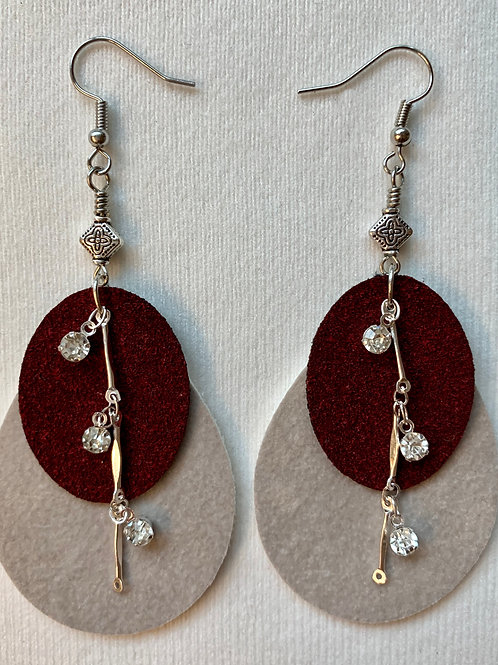 Gray and mauve faux suede earrings with silver accents