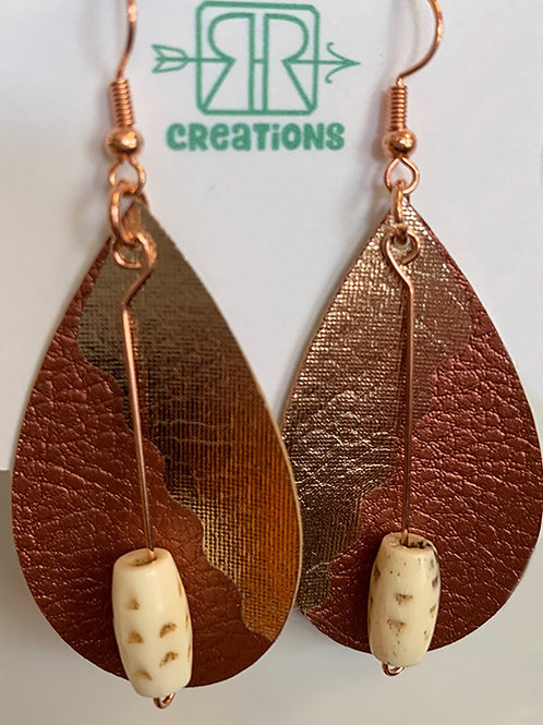 Bronze and Gold Faux Leather Earrings with Bead Embellishment