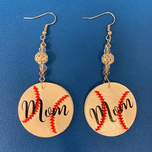 "Double-Sided Faux Leather Baseball ""Mom"" Earrings"