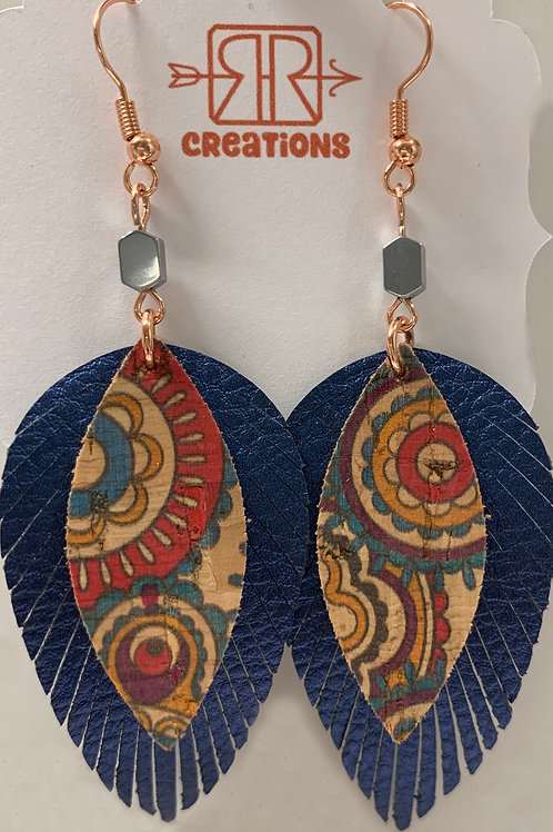 Faux Leather Earrings - Blue Teardrop Fringe/Cork