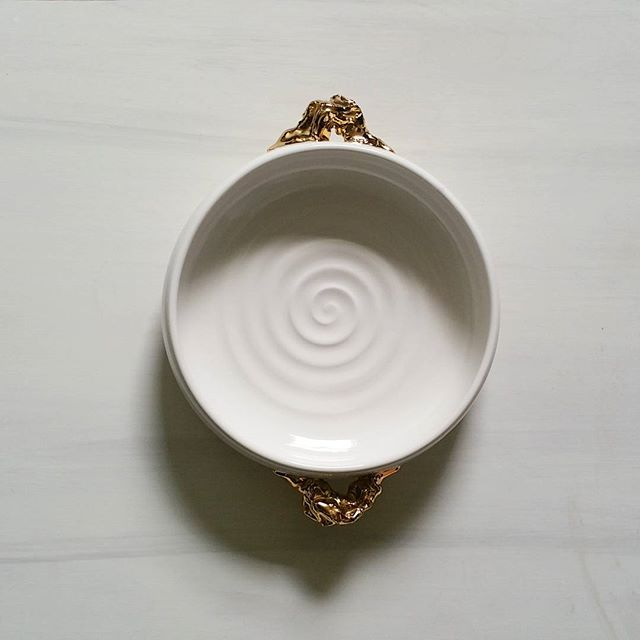 Finally finished this bowl with _gold nugget_ handles.  Heading for my etsy shop xRESEEDx tomorrow _