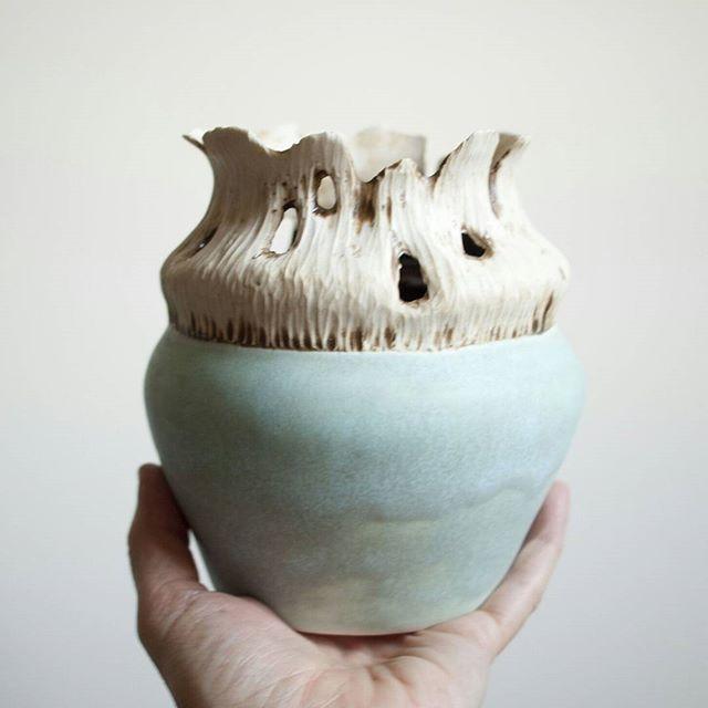 Carved porcelain vase by Brooke Peiffer