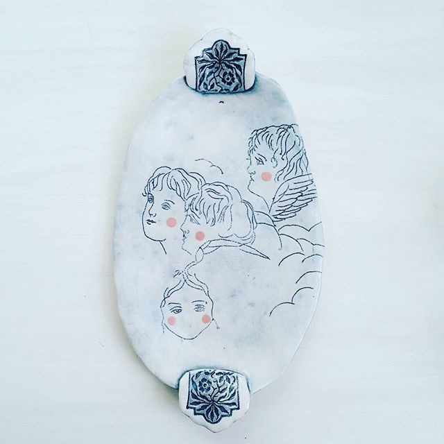 Porcelain tray impressed with found embroidery by Brooke Peiffer