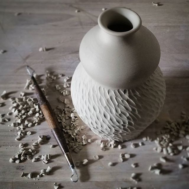 Wheel thrown and carved vase by Brooke Peiffer