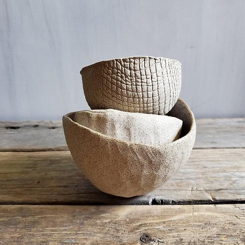 3 stoneware spice bowls