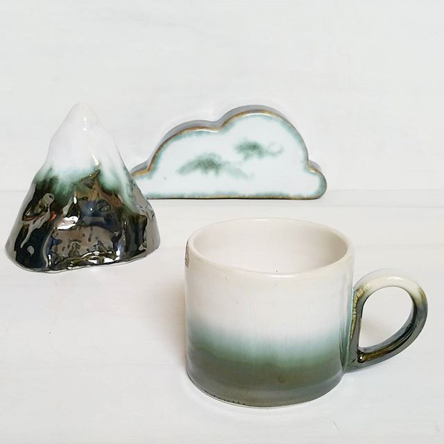 One mug left!  Link in profile _) #ceramicmug #ceramics #pottery #porcelain #mountain #cloud #xresee