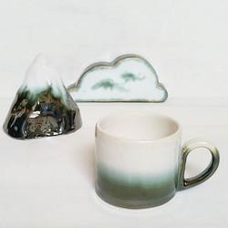 One mug left!  Link in profile _) #ceramicmug #ceramics #pottery #porcelain #mountain #cloud #xresee