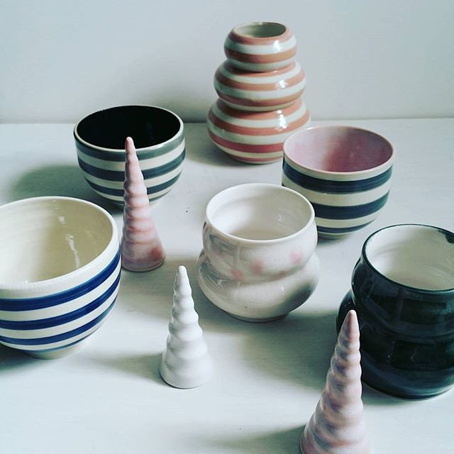 Striped porcelain with unicorn horns by Brooke Peiffer