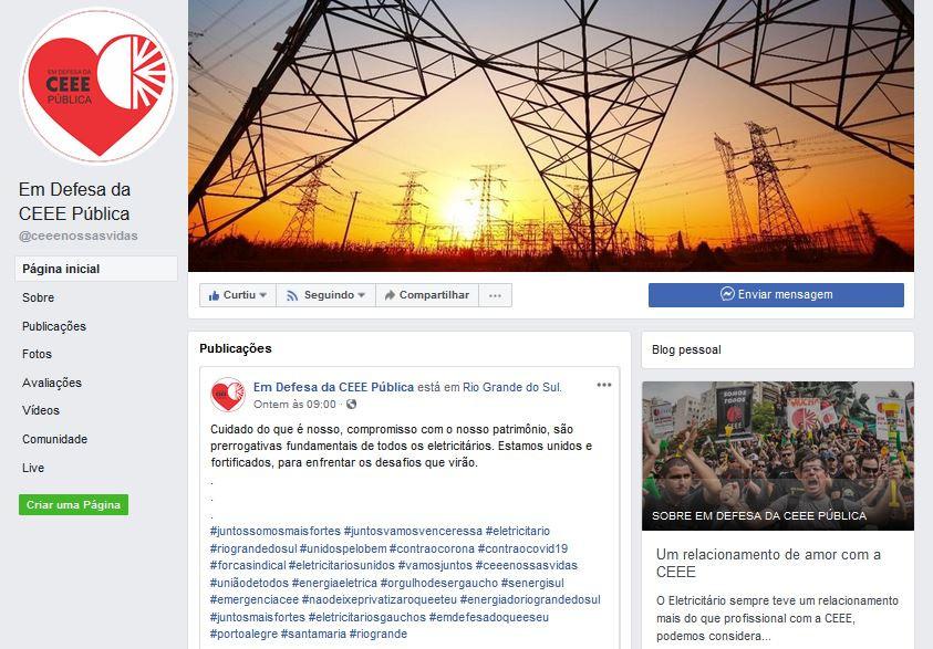 Foto da página da CEEE Público no Facebook