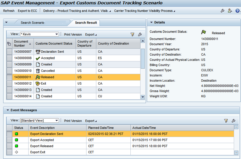 Export Customs Document Tracking Web UI Result screen