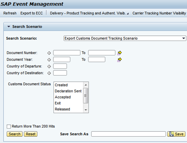 Export Customs Document Tracking Web UI Selection