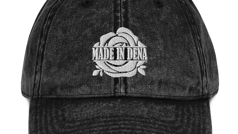 """MADE IN DENA"" Classic White Logo Vintage Cotton Twill Cap"