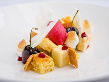 Edinburgh Evening News 67 - Almond Sponge, Cherry Sorbet, Fresh Cherries