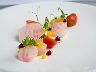 Edinburgh Evening News 26 - Orange Cured Hake, Mandarin Gel, Tomato, Beetroot, Pea Shoots