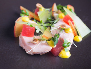 Edinburgh Evening News 32 - Hot Smoked Salmon, Apple, Watermelon, Hazelnuts and Saffron Mayonnaise