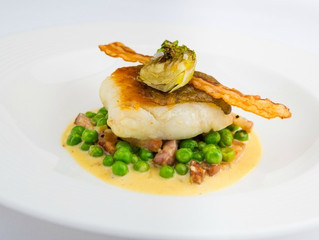 Edinburgh Evening News 58 - Pan Roasted Sea Bass with Peas à la Française