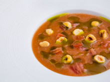 Edinburgh Evening News 69 - Gazpacho, Roasted Hazelnuts, Basil Oil