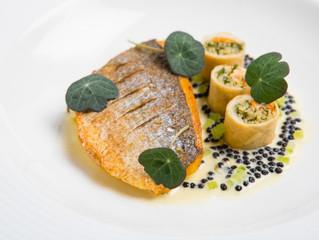 Edinburgh Evening News 44 - Pan Roasted Sea Bass, Caviar Beurre Blanc, Mussel Spring Rolls