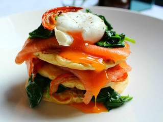 Edinburgh Evening News 43 - Sweetcorn and Basil Fritters, Smoked Salmon, Wilted Spinach, Semi-Dried