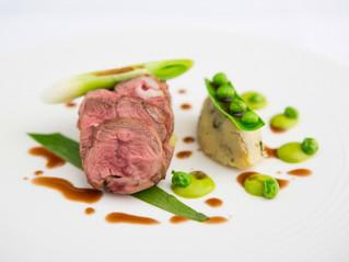 Edinburgh Evening News 50 - Roasted Spring Lamb Rump, Pea Purée and Crushed Jersey Royals