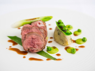 Edinburgh Evening News 50 - Roasted Spring Lamb Rump, Pea Purée and Crushed Jersey Royals