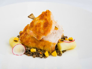 Edinburgh Evening News 60 - Roasted Chicken Breast, Puy Lentils, Confit Potatoes, Blackened Corn
