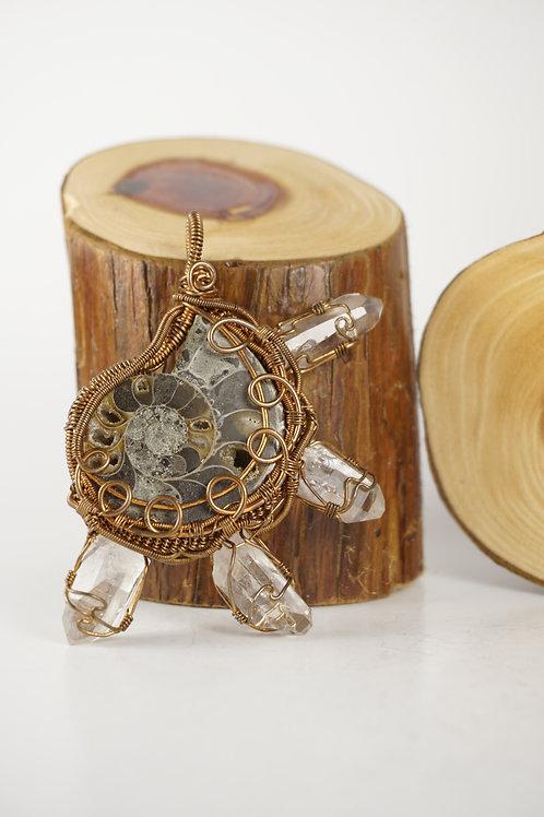 Ammonite Wire Wrap Pendant