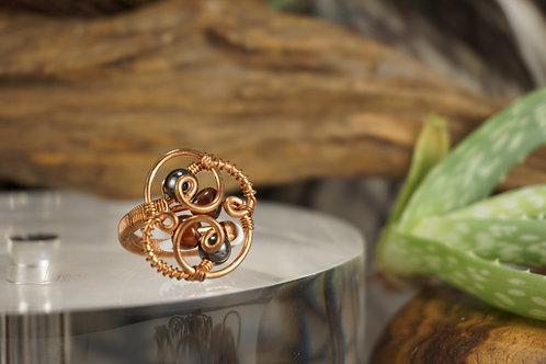 Agate/Hematite Ring