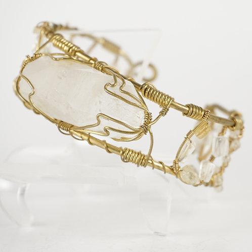 Quartz and Citrine Wire Bracelet
