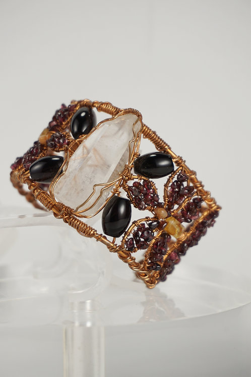 Quartz and Garnet Wire Bracelet