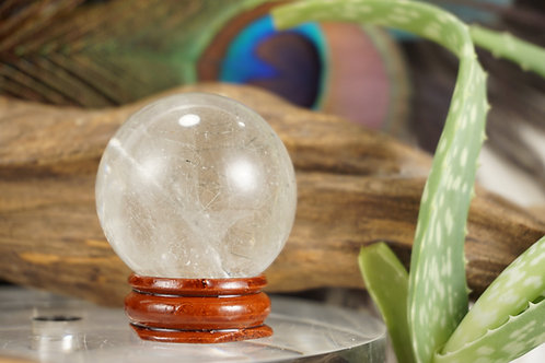 Quartz Sphere with Titanium Rutile