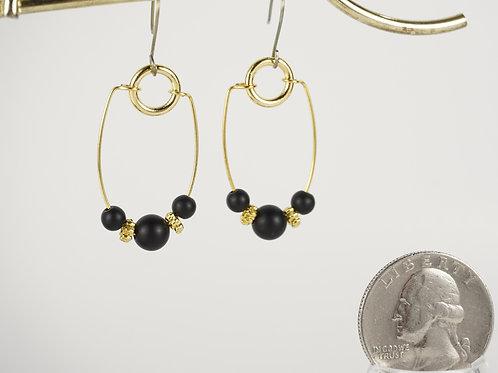 Onyx Hoop Earrings