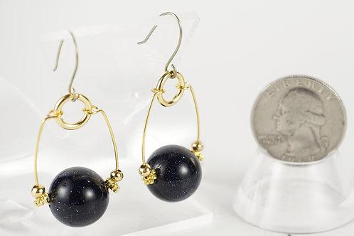 Blue Goldstone Hoop Earrings