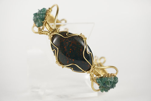 Bloodstone Wire Wrapped Bracelet