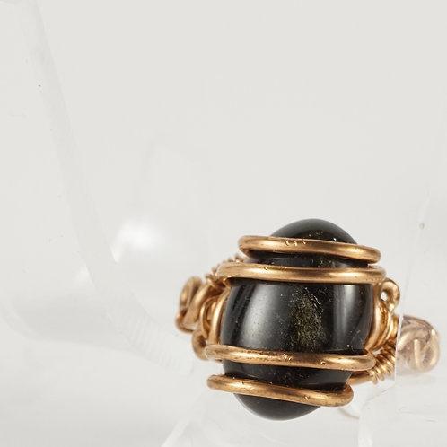 Goldsheen Obsidian Ring
